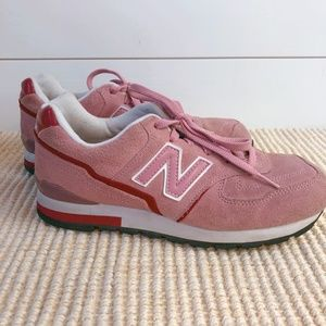 New Balance 594 Suede Sneaker Tennis Shoe Pink Red